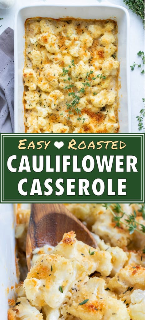 Keto cauliflower gratin is served with a wooden spoon from a casserole dish.