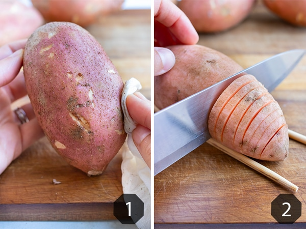 Step by step pictures for how to prepare and cut hasselback sweet potatoes.