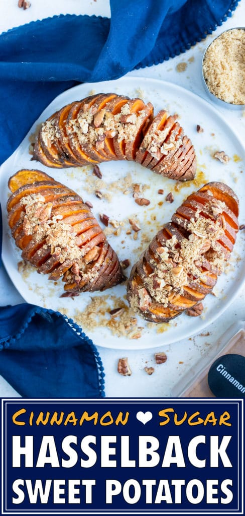 Baked hasselback sweet potatoes are served on a white plate and topped with excess brown sugar and cinnamon for a Thanksgiving side.