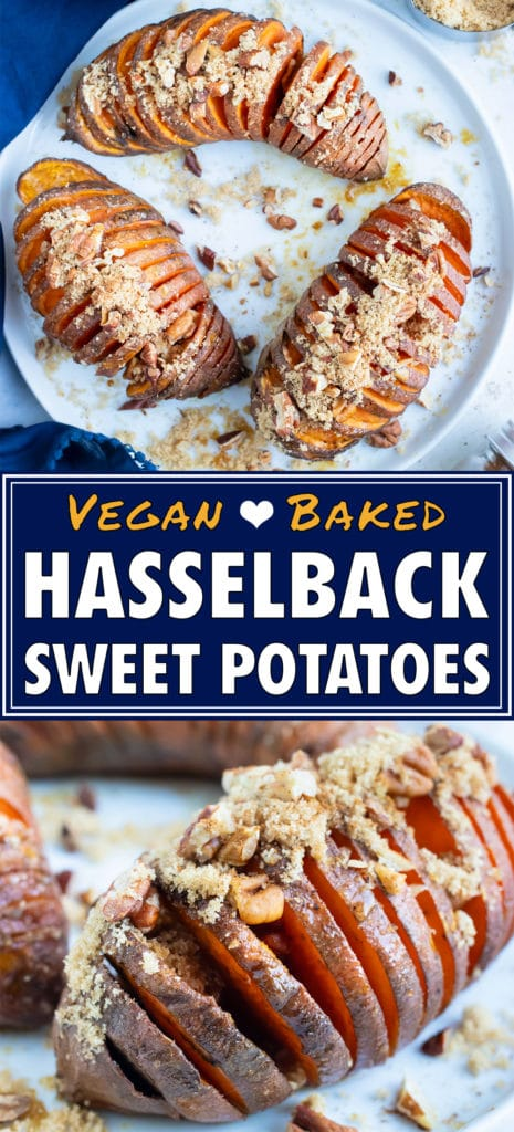 Hasselback sweet potato recipe is served on a white plate and topped with toasted pecans, brown sugar, and cinnamon.