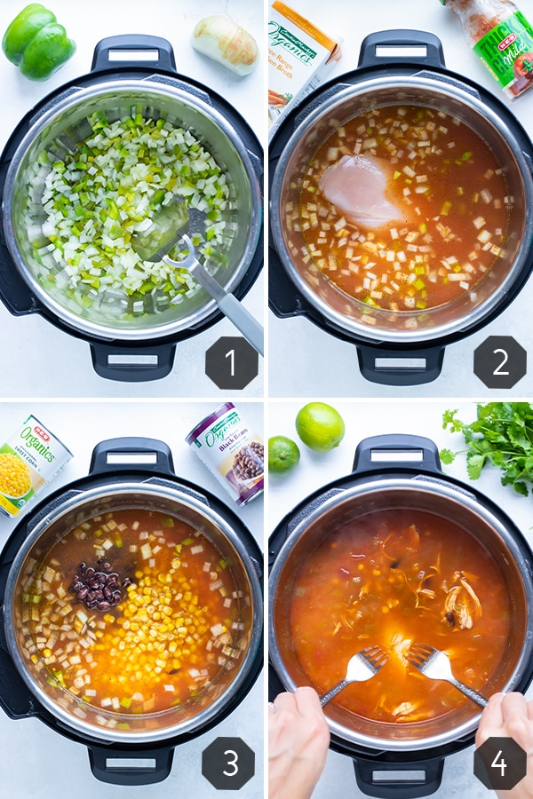 Instructional pictures for how to make instant pot chicken tortilla soup.