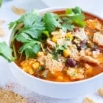 Mexican chicken tortilla is served in a bowl for a healthy dinner option.
