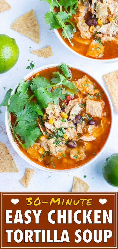 Instant pot chicken tortilla soup is served with fresh lime and tortilla chips.