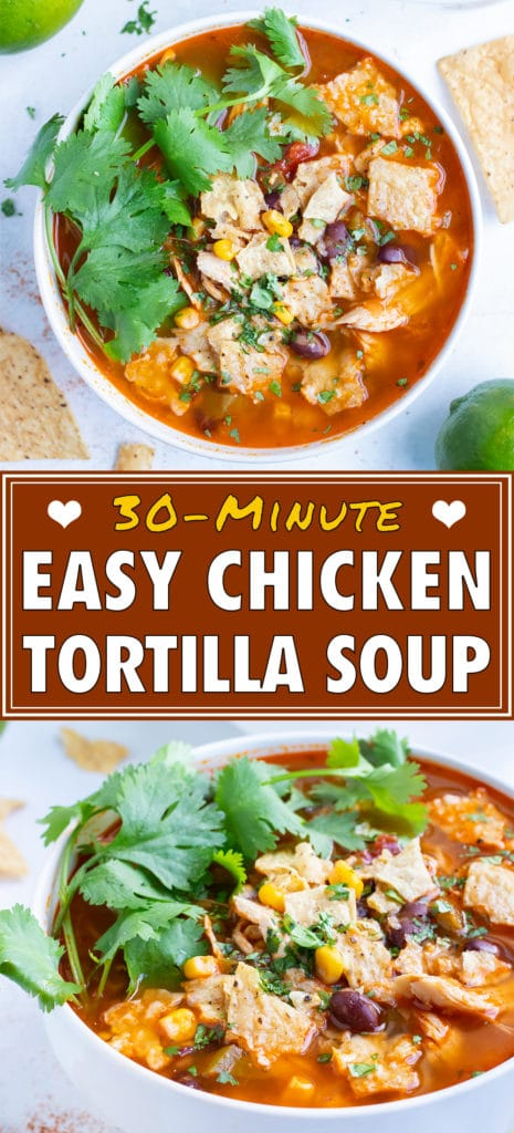 Chicken tortilla soup is served with fresh toppings for an authentic Mexican dish.
