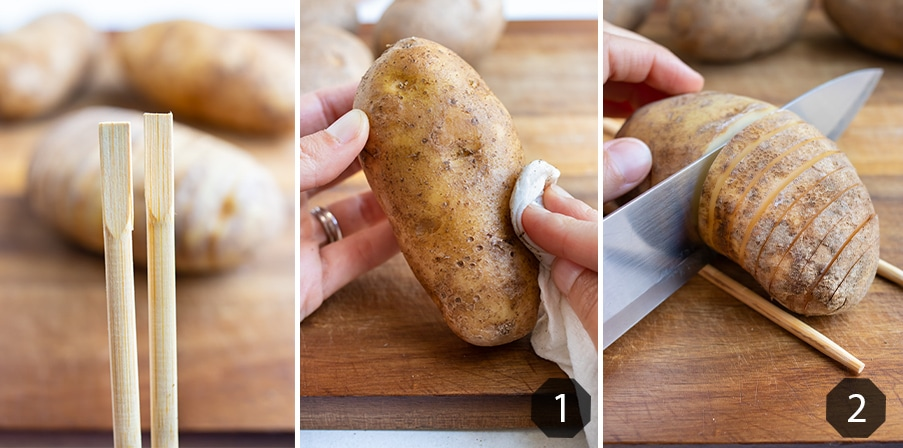 Step by step pictures for how to cut and prepare hasselback potatoes.
