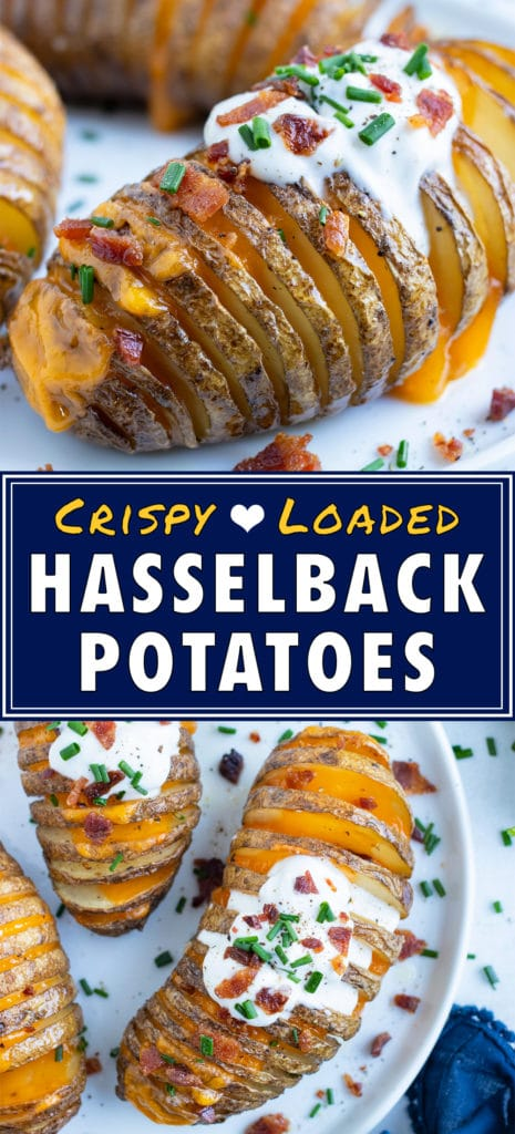 Baked loaded hasselback potatoes are filled with cheese and topped with bacon.