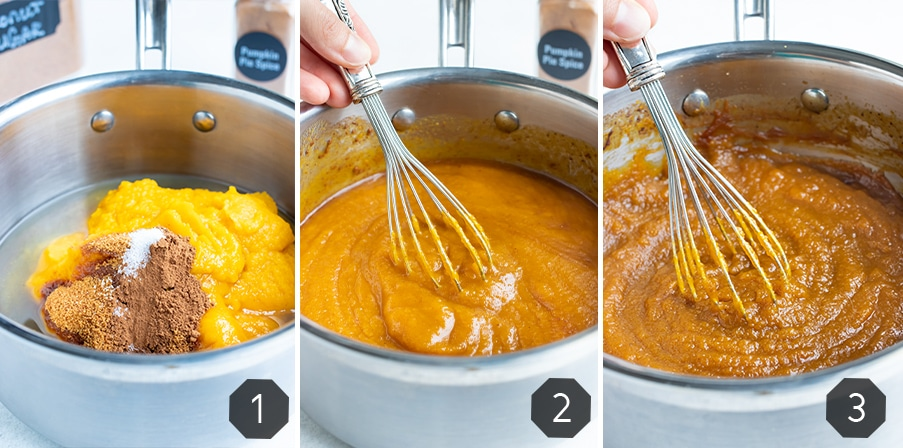 Step by step pictures showing how to make homemade pumpkin butter.