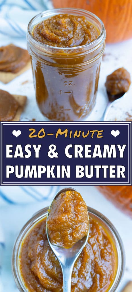 A jar of pumpkin butter and crackers covered in pumpkin butter are on the counter.