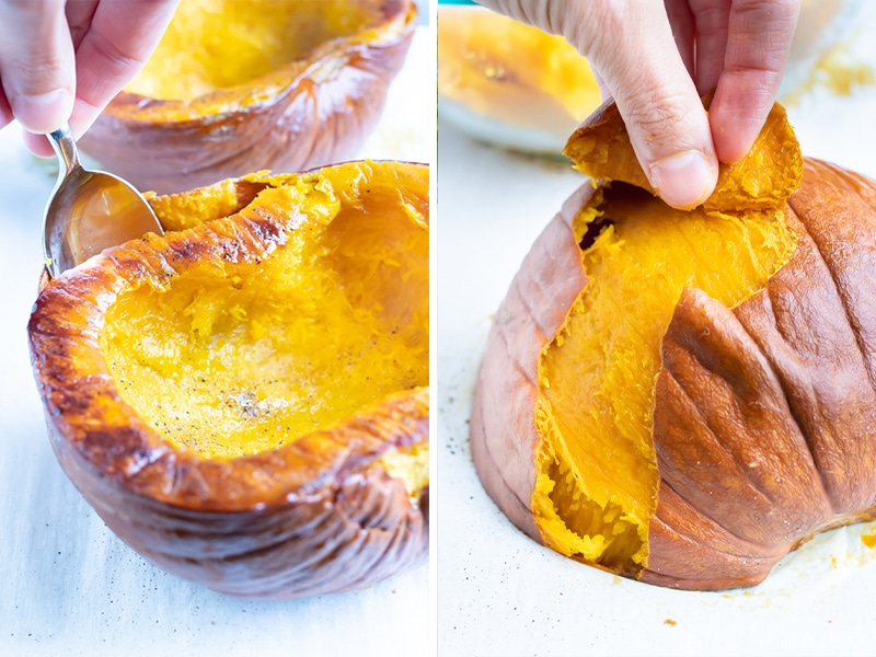 Side by side pictures for how to remove the outside from the roasted pumpkin flesh.