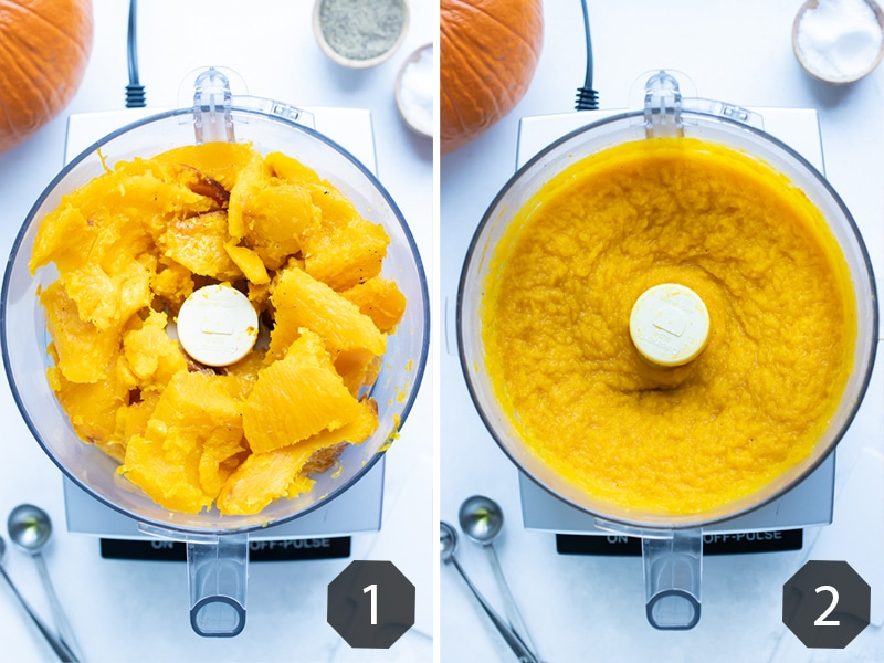 Step by step pictures for how to make homemade pumpkin puree.