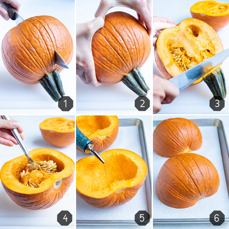 Instructional photos for how to prepare a pumpkin for pumpkin puree.