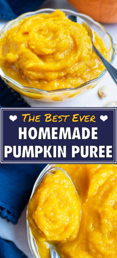 Fresh pumpkin puree is put in a glass bowl with a spoon.