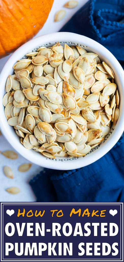 Roasted pumpkin seeds are placed in a bowl before being used in recipes.