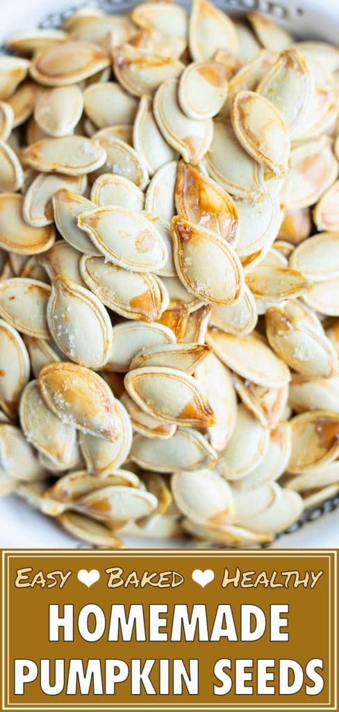 Roasted pumpkin seeds are baked with different seasonings.