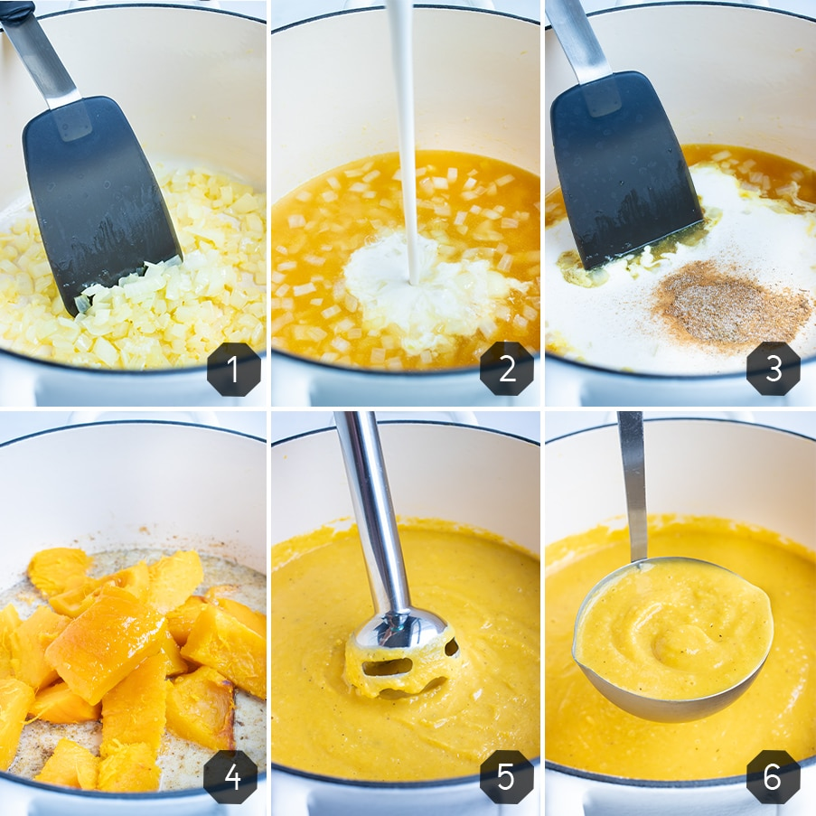 Instructional pictures for how to make a creamy and vegan pumpkin soup.