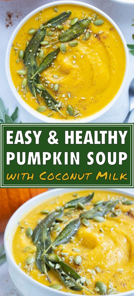 Creamy pumpkin soup is topped with cinnamon, oven roasted pumpkin seeds, and fresh sage leaves.