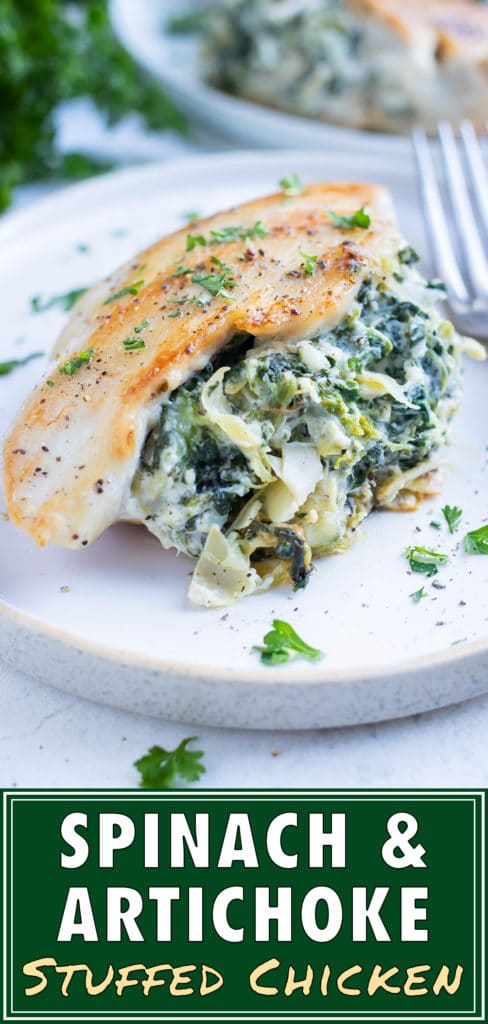 Healthy spinach artichoke stuffed chicken is served at your next dinner party.