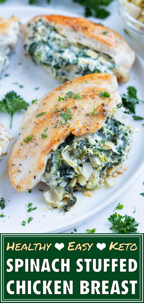 Spinach artichoke stuffed chicken is on a plate for a keto main dish.