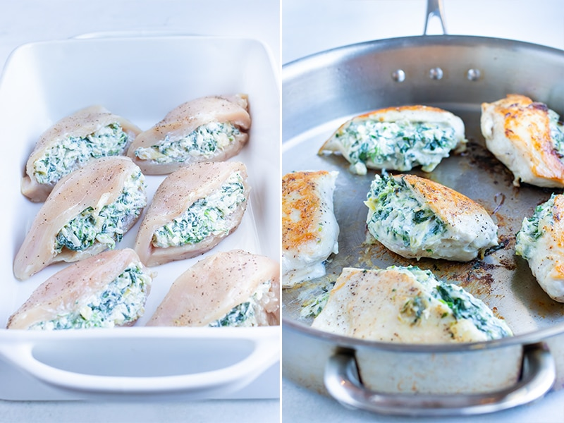 Instructional photos showing how to make spinach artichoke stuffed chicken recipe in the oven or on the stove.