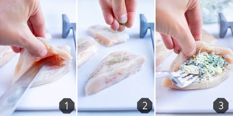 Step by step pictures for how to prepare the chicken breasts for this recipe.
