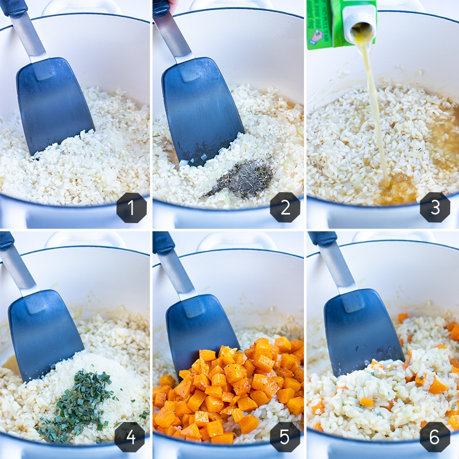 Instructional pictures for how to make butternut squash risotto.