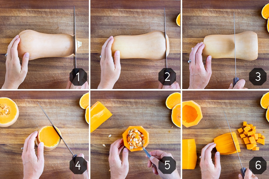 Step by step pictures for how to cut butternut squash.
