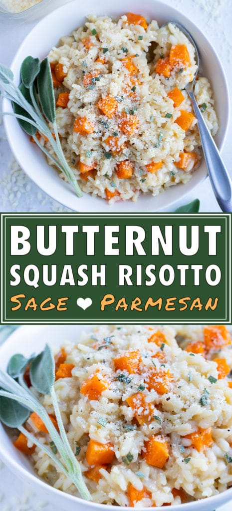 Homemade butternut squash risotto is served in a white bowl with a spoon.