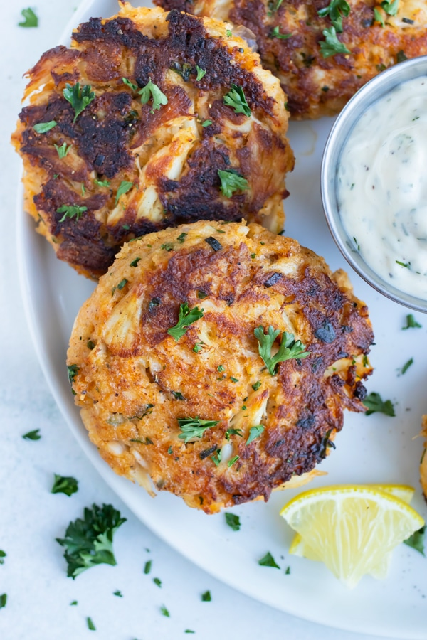 Maryland crab cakes are served for a seafood appetizer.