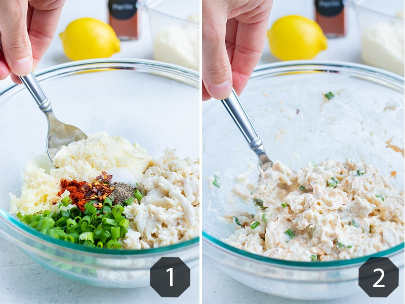 Instructional pictures for how to make the crab stuffed mushrooms filling.