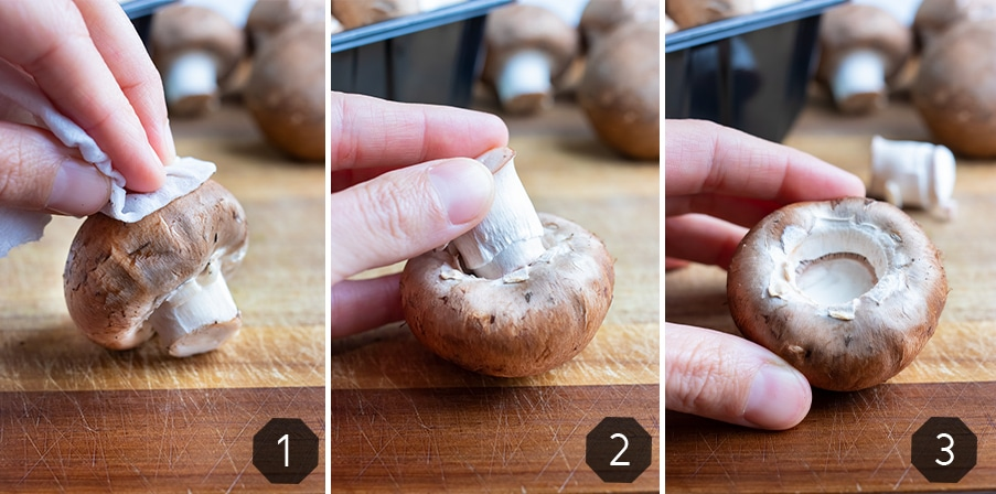 Instructional pictures for how to make mushroom caps for filling.
