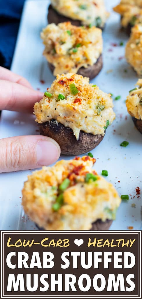 Keto crab stuffed mushrooms are enjoyed for a party appetizer.