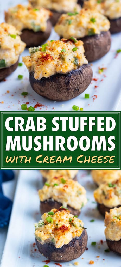 Crab stuffed mushrooms are served for a low-carb appetizer.