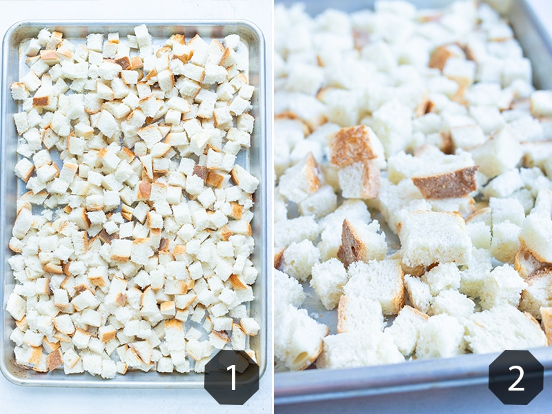 Step by step pictures show how to toast bread cubes.
