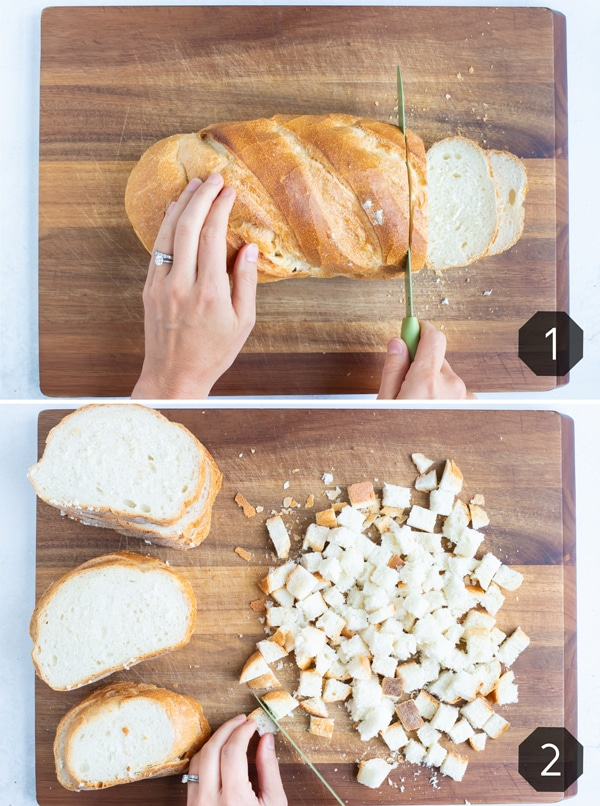 Bread is sliced and cubed before drying out on the counter or in the oven for stuffing.