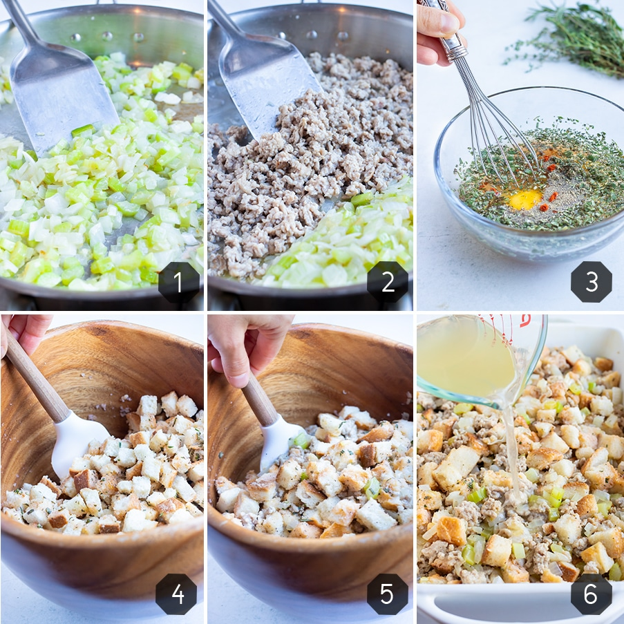 Instructional pictures show how to make traditional sausage stuffing.