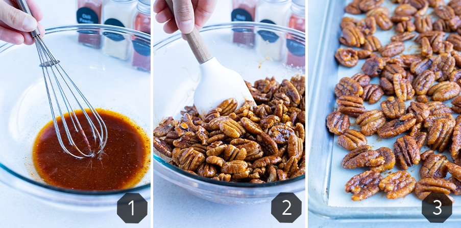 Instructional pictures for how to make this savory spiced pecan recipe.
