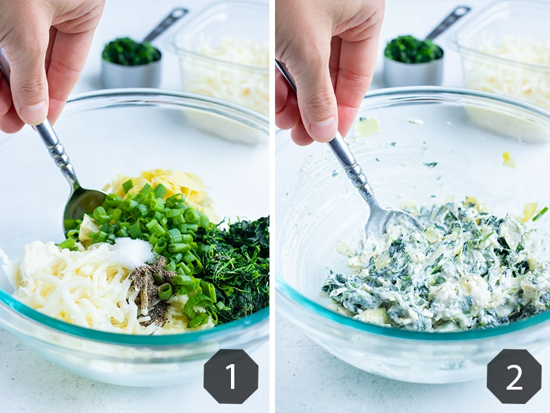 Step by step pictures for how to make spinach artichoke filling.