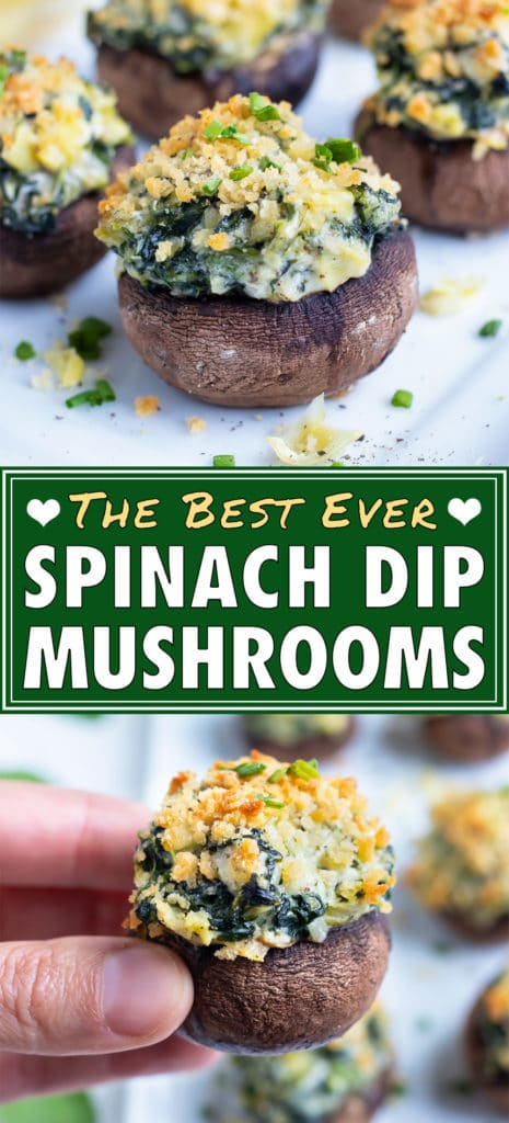 Vegetarian spinach stuffed mushrooms are lined up on a tray to be served at as an appetizer.