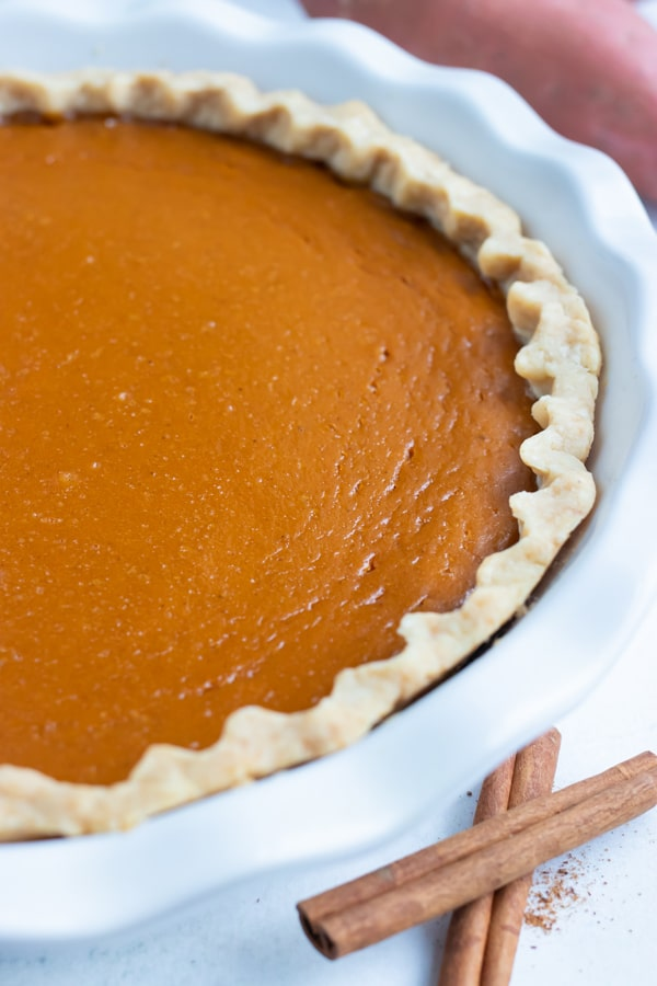 Homemade sweet potato pie recipe is made for a Thanksgiving dessert.