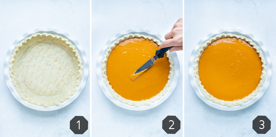 Instructional pictures for how to make a homemade sweet potato pie.