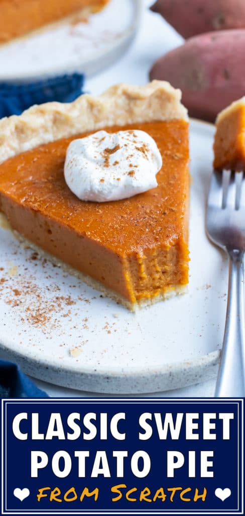 A slice of sweet potato pie is served on a white plate with a fork.