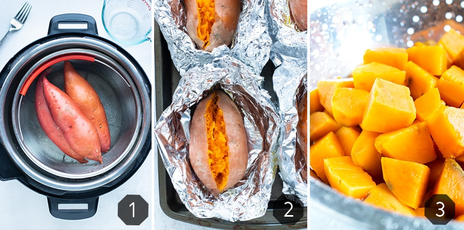 Instructional photos show three different methods for cooking sweet potato for puree.