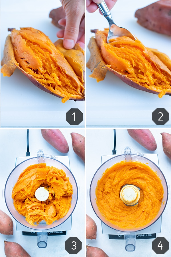 Step by step pictures for how to make the best homemade sweet potato puree.