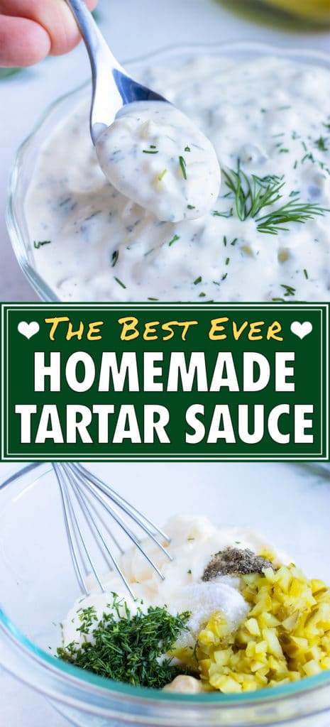 Quick and easy tartar sauce is lifted up by a spoon before serving.