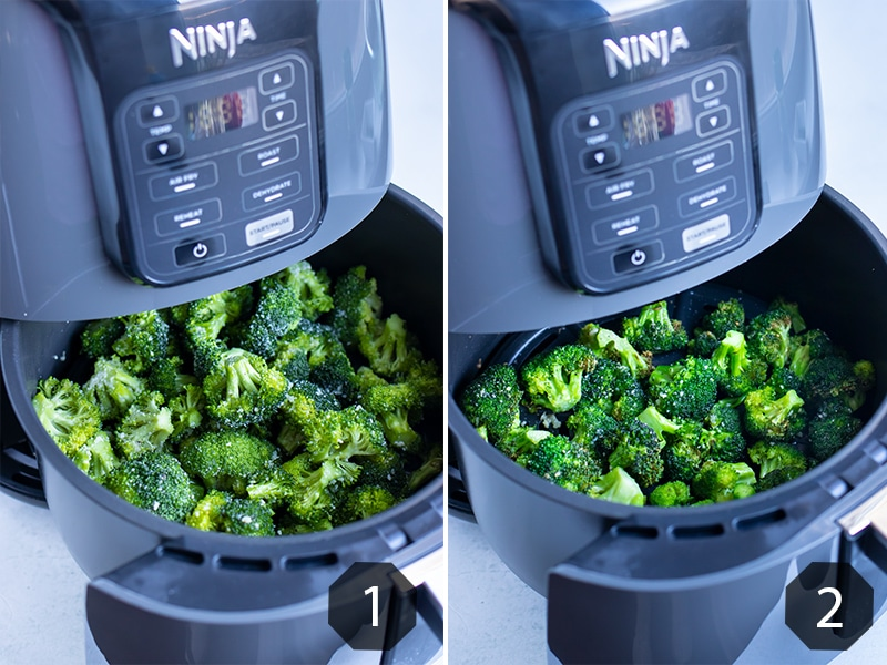 Before and after pictures for how to air fry broccoli.