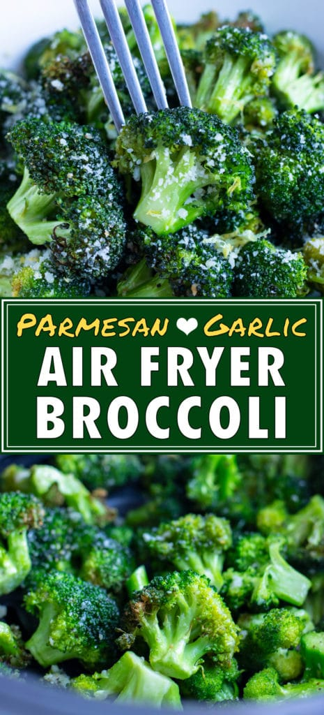 Air fryer broccoli is served in a white bowl for a low-carb side.