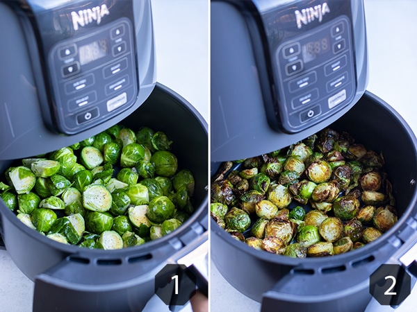 Step by step pictures for how to make crispy brussels sprouts.