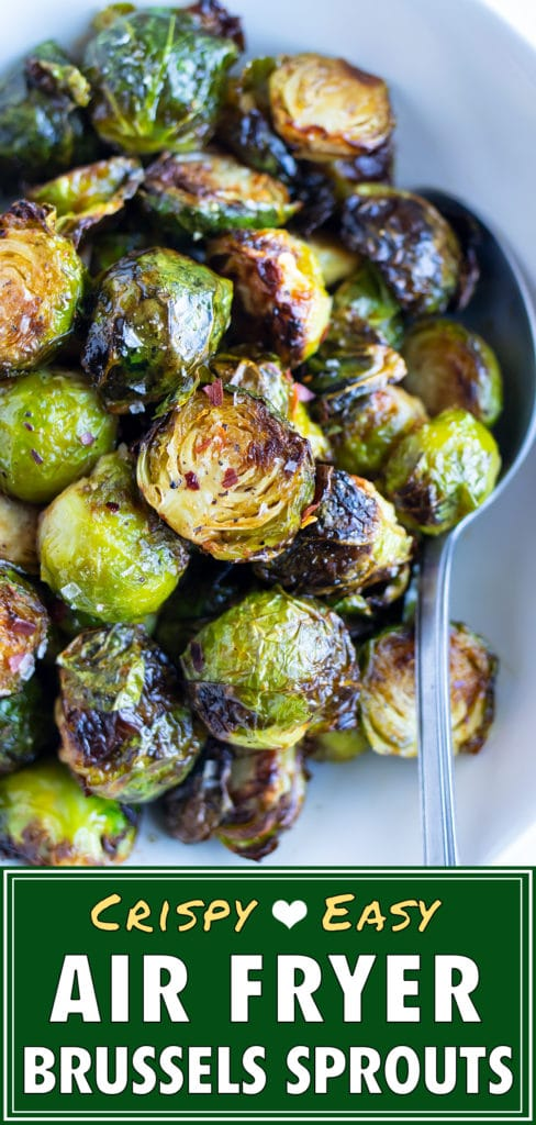 Air fryer brussels sprouts are served for a healthy, vegan side dish.