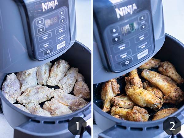 Step by step pictures for how to make healthy chicken wings in the Ninja air fryer.
