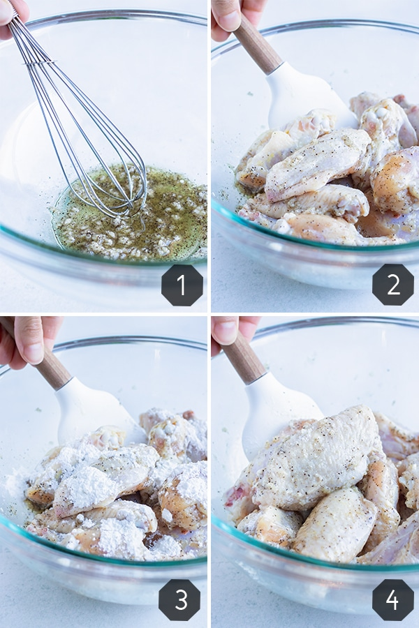 Instructional pictures for how to make air fryer chicken wings.